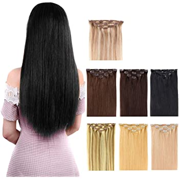 """16"""" Clip in Hair Extensions Real Human Hair for Women - Silky Straight Jet Black Human Hair Clip on 55grams 4pieces #1 Color"""