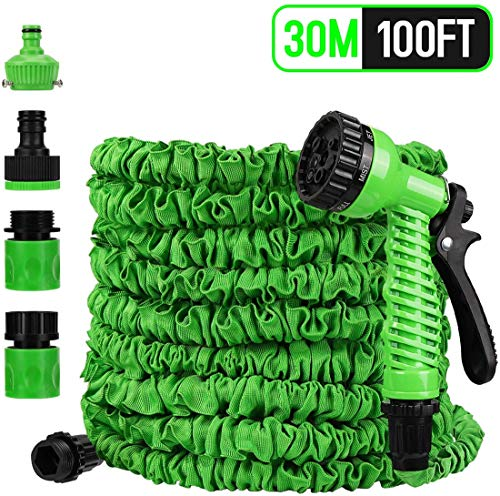 Alittle Garden Hose, Expandable Garden Hose30M / 100FT with 7 Function Spray Nozzle, Extra Strong Fabric Kink-Free Flexible Hose Water Hose (Green)