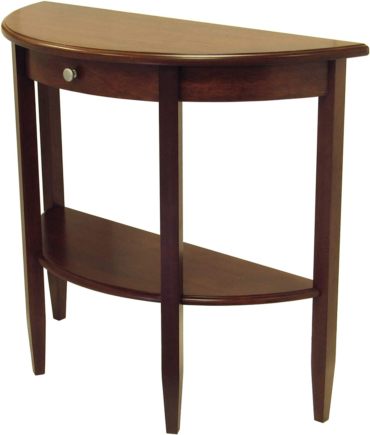 Winsome Wood Half Moon 1-Drawer Hall Table, Antique Walnut