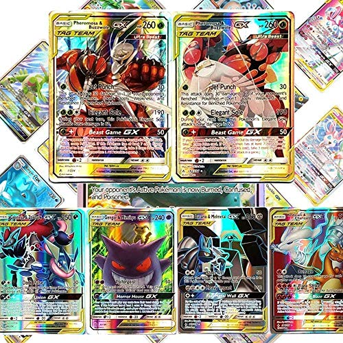 120 Pack Flash Karten Kinder Eholder Pokemon Karten GX Set Pokemon Sammelkarten EX 120 St/ück Pokemonkarten mit 100 GX Pokemon-Karten und 20 EX Pokemon Cards