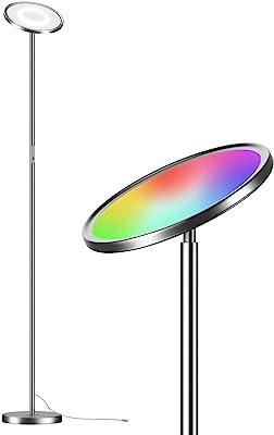 HLONGG Lampe De Sol LED, Super Lumineuse 24W Smart WiFi Couleur Changement De Lampe De Sol, Dimmable Torchiere, Compatible avec Alexa & Google pour La Lecture, 68,9 Pouces,Noir