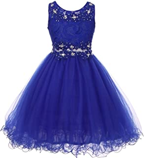 Little Girls See Through Waistline Lace Flowers Girls Dresses