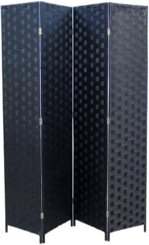 Ore International FW0676SB 4-Panel Screen Room Divider on 2-Inch Wooden Leg, Black Paper Straw Weave
