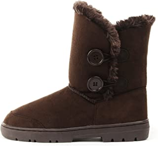 Womens Twin Button Fully Fur Lined Waterproof Winter Snow Boots ,8 B(M) US,Brown