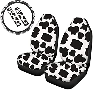 FUIBENG Lovely Animal White Cow Print Cute Car Front Seat Covers+ Steering Wheel Cover+ Seat Belt Pads 5 Pcs Universal Car...