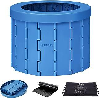 TripTips New Upgrade Portable Toilet Folding Commode Toilet Seat Porta Potty Car Toilet, ABS Plastic, Washable, Sturdy, Co...
