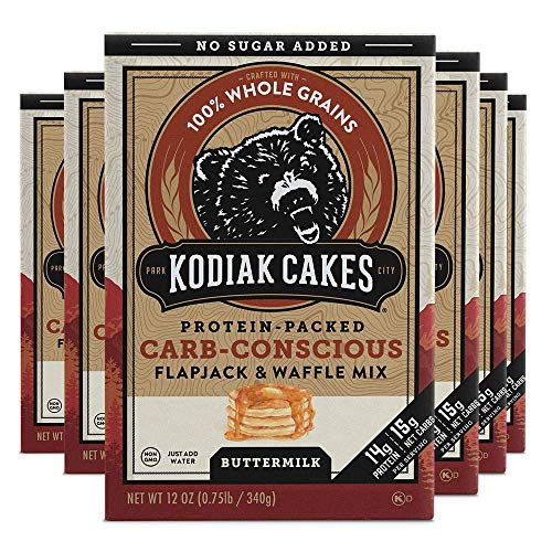 Kodiak Cakes Low Carb, Protein Pancake, Flapjack and Waffle Baking Mix, Buttermilk 12 Oz, (Pack of 6) - Carb-Conscious