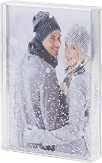 NIUBEE Glitter Liquid Photo Frame 5x7, Clear Plastic Acrylic Floating Sparkle Water Picture Frame for Gift (Snow)