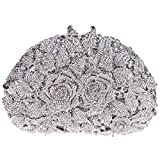 Bonjanvye Glitter Studded Rhinestone Rose Clutch Purse for Wedding Party Silver