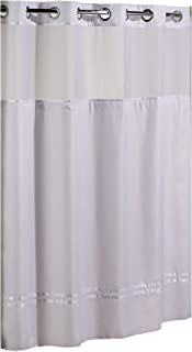 Hookless HBH40MYS0101SL77 Escape Shower Curtain With Snap-In Liner, White With White Stripe, 71