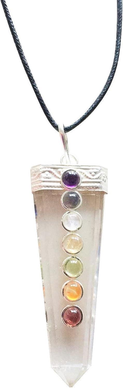 Crystal Quartz 7 Chakra Single Point Pendant Necklace