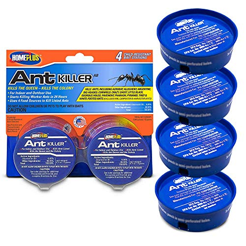Home Plus Ant Killer (4-Pack), Metal Ant Traps Indoor & Outdoor, Ant Bait Station, Pet Safe Ant Killer, Effective Ant Control System, 4 Cans Ant Bait Traps, Ant Poison Indoor Outdoor