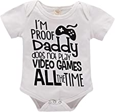 I'm Proof Daddy Does Not Play Video Games All The Time Baby Girls Boys Romper Bodysuit