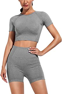 Womens Yoga Outfits 2 Piece Set Workout Athletic Short Sleeve Crop Top with Seamless High Waist Leggings Gym Clothes Set