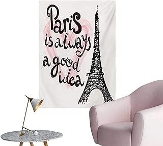 Eiffel Tower Art Stickers Lettering in Heart Modern Europe Dream Tour Artful Sketch IllustrationCream Pink Black W32 xL48 Space Poster