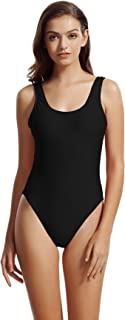 zeraca Women's High Cut Low Back One Piece Bathing Suits Swimsuits