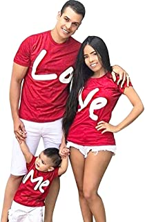 WensLTD Family Matching Clothes Parent-Child Short Sleeve Valentine Letter Print T-Shirt Tops Family Clothes