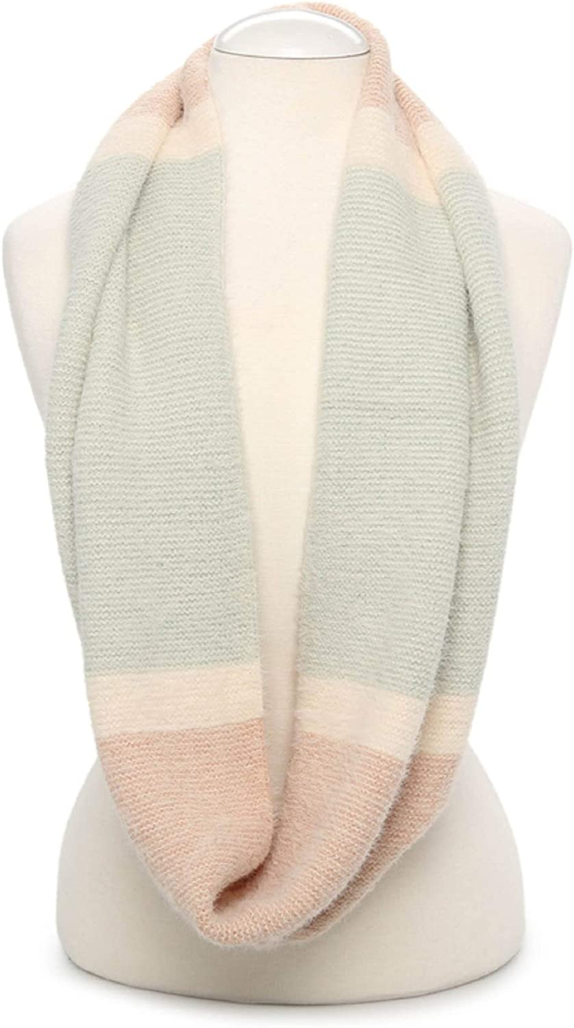 Knit color Block Design Infinity Scarf