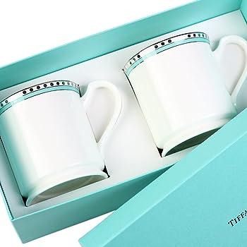 【名入れ対応可】ティファニー TIFFANY&Co マグカップ ペアマグカップ プラチナ ブルー バンド マグカップ ボーンチャイナ (名入れなし)