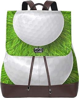 LUPINZ - Mochila de Piel para la Vuelta al Cole, diseño de Pelota de Golf sobre Hierba