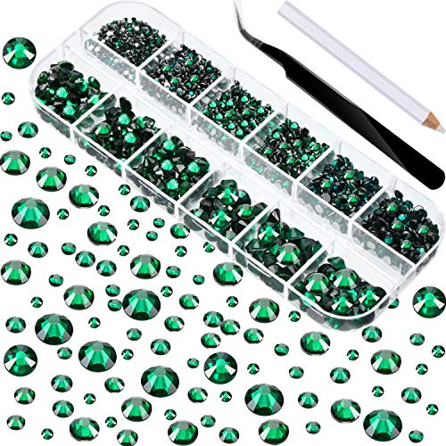 2000 Pieces Flat Back Gems Round Crystal Rhinestones 6 Sizes (1.5-6 mm) with Pick Up Tweezer and Rhinestones Picking Pen for Crafts Nail Face Art Clothes Shoes Bags DIY (Green)
