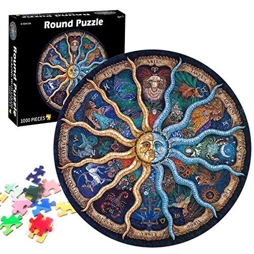 TaimeiMao Runde Puzzle 1000 Teile,Erwachsenenpuzzle,Puzzle Pädagogisches,Puzzle Kreative Erwachsene,Legespiel Puzzle,Puzzle Stressfreisetzung Spielzeug(Zwölf Sternbilder)