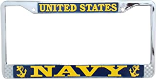 US Navy License Plate Frame - Military Frame Made in The USA - Yellow on Blue