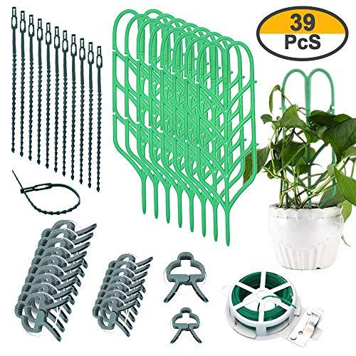 39 Pieces Potted Plant Trellis Kits for Climbing Plants Bundle Set- 6 Leaf Shape Garden Plant Supports Houseplants Trellis, 18 Plant Clips, 12 Plant Wrap Tie, 1 Roll Wire Twist Tie for DIY Garden Cli