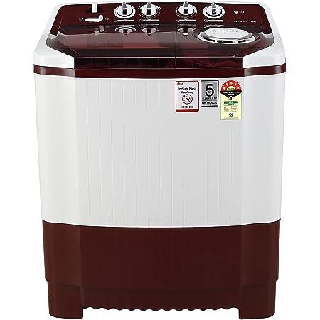 LG 7.5 Kg 5 Star Semi-Automatic Top Loading Washing Machine (P7515SRAZ, Burgundy, Roller Jet Pulsator), Large