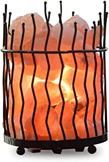 OSALADI Luz de Sal de Cristal Luz de Noche de Sal Rosa Del Himalaya en Canasta de Metal Lámpara de Mesa Recargable USB para Decoración de Dormitorio de Oficina en Casa