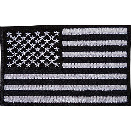 Color negro bandera Estados Unidos parche bordado