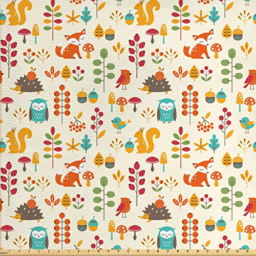 Ambesonne Children Fabric by The Yard, Kids Autumn Pattern with Owl Fox Squirrel Birds Animal Leaves Print, Decorative Fabric for Upholstery and Home Accents, 1 Yard, Cream Orange