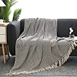 """MOTINI 100% Cotton Decorative Throw Blankets Cozy Black and Beige Striped Hand-Knitted Blankets with Tassel for Sofa, Couch, 60"""" x 50''"""