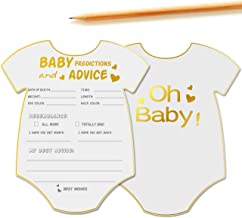 50 Advice and Prediction Cards for Baby Shower Game,Gender Neutral Boy or Girl,Fun Baby Shower Games Favors,New Parent Message Advice Book,New Mom & Dad Card or Mommy & Daddy To Be - 5x6inch