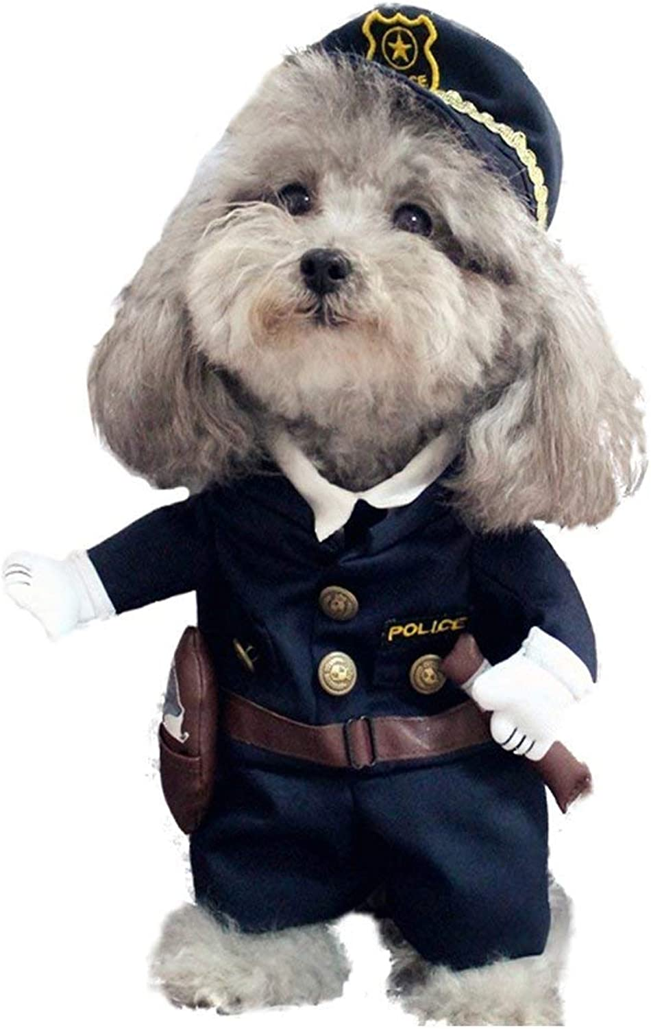 Pet Policeman Costumes Clothes Dog and Cat Dress Halloween Party Suit Outfit Cotton Apparel,M