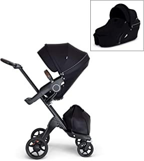 Stokke Xplory V6 Black Stroller with Brown Leatherette Handle, Black Chassis, and Black Carry Cot Bundle