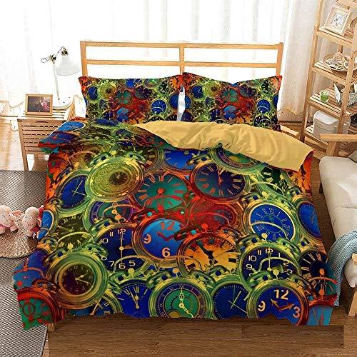 Bedclothes-Blanket Funda nórdica Funda de Colcha,Cama 3D Single Ropa de Cama Edredón Set Reloj de Tres piezas-220 * 260_20