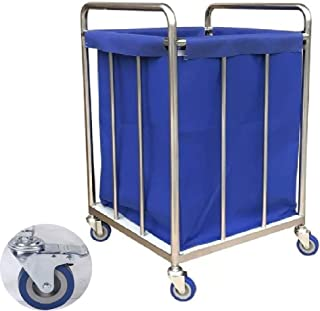 JCY Laundry Basket, Laundry Cart, Wheels and Removable Bag, Multi-Function Trolley, Beauty Salon, Hotel Room, Blue (Size : 55 x 55 x 88 cm)