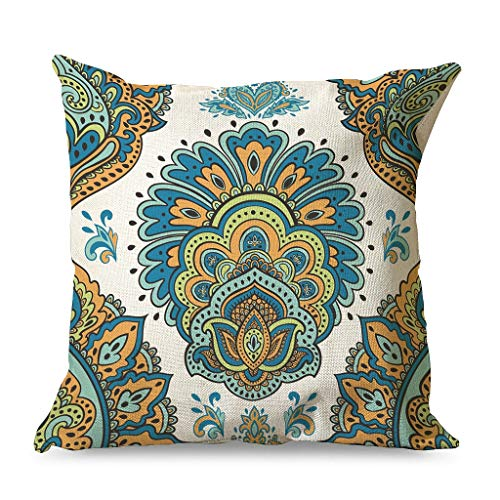 WellWellWell Mandala Flower Pillowcase Printed Ultra-Soft Square Pillow Protection use in Interior Decorations for Chair with Hidden Zipper white 45x45cm