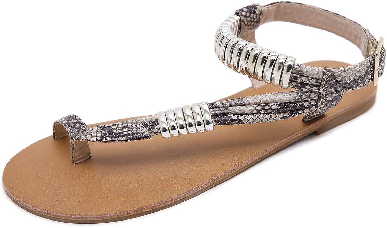Stupmary Women Flat Sandals Thong Toe Flip Flops Buckle Strap Gladiator Beach Sandalias