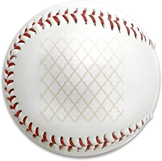 Whages Moroccan Quatrefoil Pattern∶ Muslin Beige Personalized Soft Baseball Bubble Baseball is Suitable for Children and Teen Players Training Batting