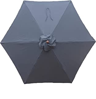 Formosa Covers 9ft Umbrella Replacement Canopy 6 Ribs in Charcoal Grey (Canopy Only)