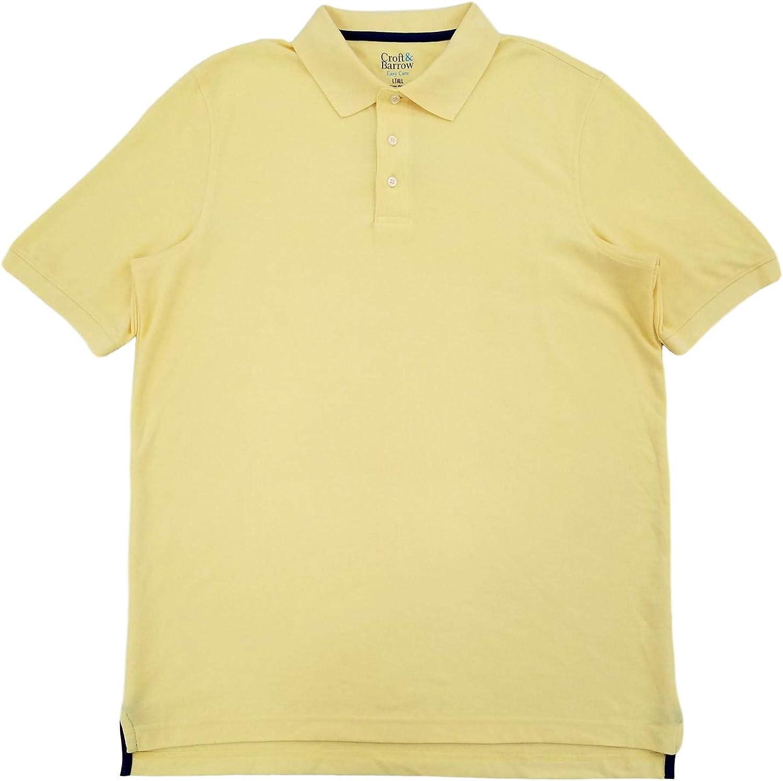 Croft & Barrow Mens Big & Tall Yellow Performance Pique Polo T-Shirt