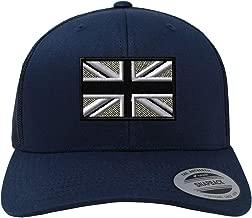 Custom Snapback Baseball Cap British Flag Black White Embroidery Country Cotton