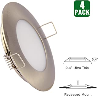 12V LED RV Boat Ceiling Lights Recessed Interior Dome Light Cabinet Roof Cabin Overhead Downlight 3.5W 3inches Brushed Nickel, 4 Pack (Warm White)