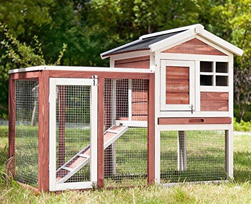 PURLOVE Kaninchenstall Kleintiergehege Hasenvilla Premium Hasenvilla 118 x54x92 cm (Braun)