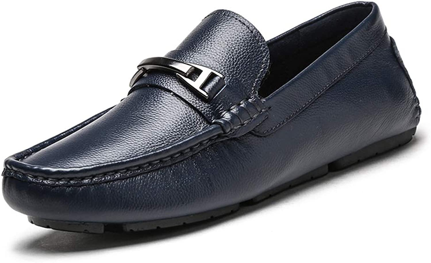 LXLA- Men's Casual Slip-On Leather shoes, Mens Comfortable Round Head Loafers for Men (color   bluee, Size   9 US 8 UK)