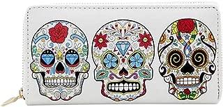 Sugar Skull Printed Zip Around Wallet for Women Credit Card Holder Halloween Gift