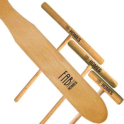 Fab Homes | Crepe Spreader & Spatula Set | Natural Beechwood | 14-inch Spatula