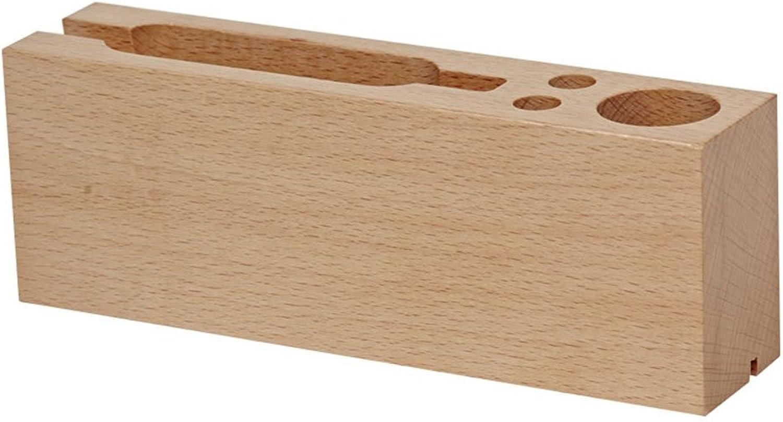 ZDDAB Wooden Pen Holder Creative Storage Box Multifunctional Simple Office Card Holder Desk Wooden Mobile Phone Desktop Support (color   Light color)